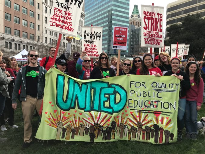 Bay Area teachers, students, parents, unions and community organizations rally Jan. 12 in support of growing militancy by California education workers