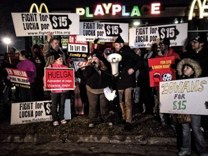 McDonald workers in the first strike by fast food workers in Iowa's history, Jan. 28, 2016.
