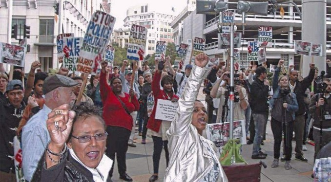 Justice for Alan Blueford protest in Oakland where the four women were arrested, February 2014.
