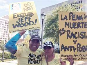 Francisco Mendoza and Martina Grifaldo  from Houston traveled to the Governor's mansion with the Texas Abolition Movement to call for a stay of execution for Jeff Wood.