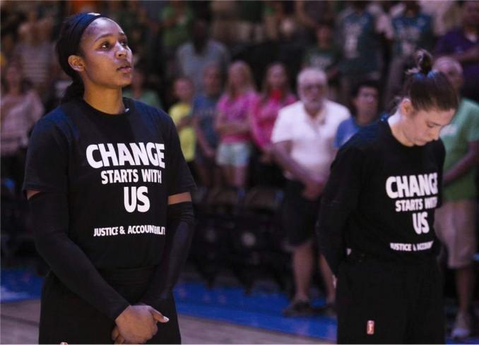 Minnesota Lynx WNBA players honor Philando Castile, killed by police in Minneapolis.