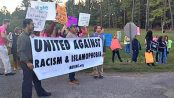 Protesters at the North Carolina gubernatorial debate, Oct. 11.