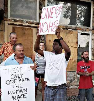North Tonawanda residents march against racism in their town on Aug. 5.