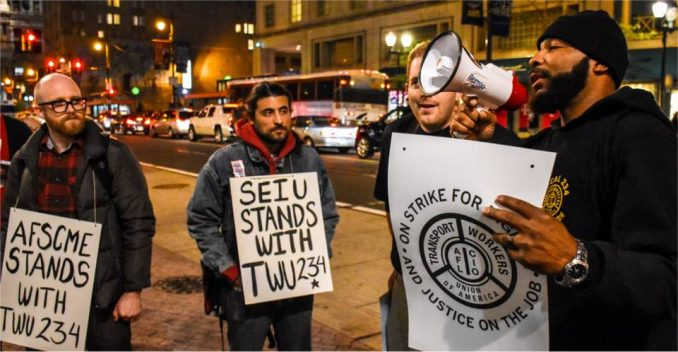 Union and community solidarity with striking transportation workers in Philadelphia.
