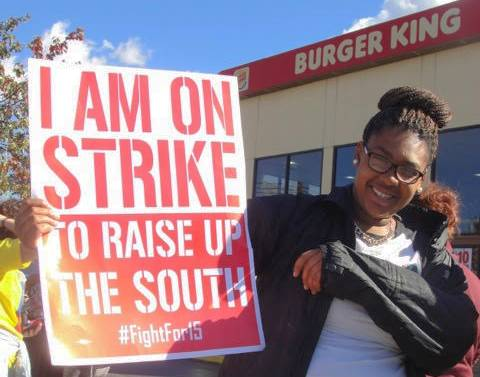 Worker solidarity launches lunch-rush Fight For $15 protest at Roanoke, Va., Burger King, Nov. 4.