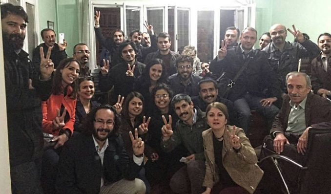 Members of the Progressive Lawyers Association in Istanbul barricaded in their office during police raid, Nov. 3.