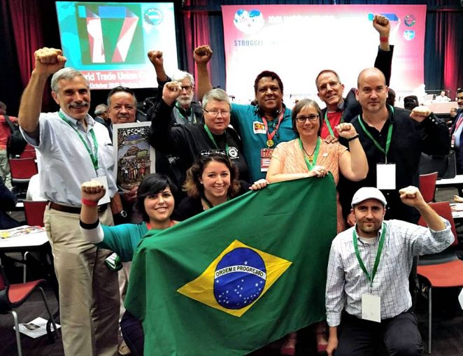 Some of the delegates to the WFTU Congress. Martha Grevatt is in second row, center.