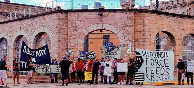 Aug. 13. Supporters of hunger strikers at Waupun prison in Wisconsin.