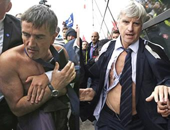 Workers beat up Air France bosses who had announced the layof of 2,900. Oct. 5.