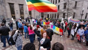 Outside the Jefferson County courthouse, Feb. 9, in Birmingham, Ala.