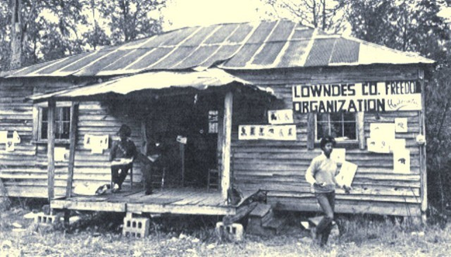 """Lowndes County Freedom Organization, home of the """"original Black Panther Party."""" Alabama, 1966."""