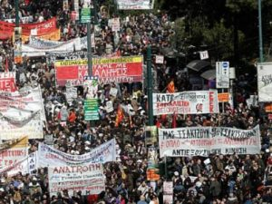 Greek workers protest austerity.