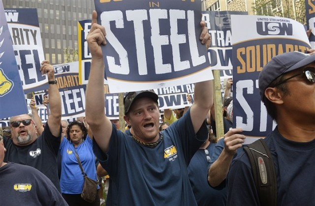 ATI workers and union supporters rally in downtown Pittsburgh last September.