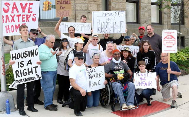 S. Baxter Jones at front in wheelchair at protest on eighth day of hunger strike.Photo: Errol Jennings