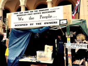 Information booth at Post Office set up by homeless and union members.WW photo: Judy Greenspan