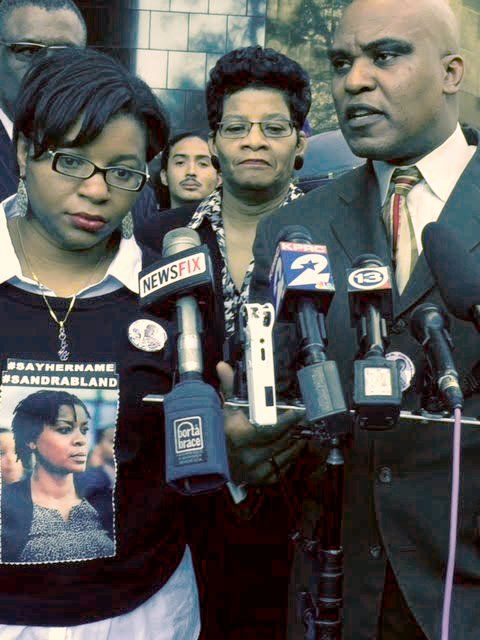 Sandra Bland's family, attorney and protesters outside of hearing, Dec. 18.WW photo: Gloria Rubac