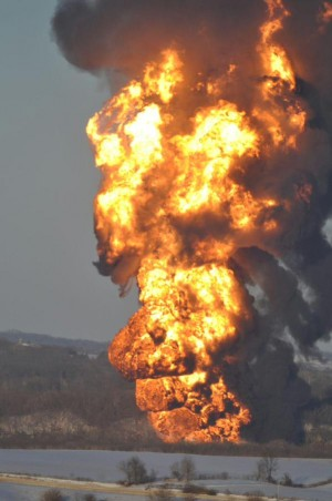 The 105-car train included 103 cars loaded with the crude oil, with eight derailing, south of Galena, Ill. March 5, 2015.