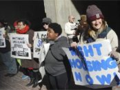 Boston homeless and their supporters at City Hall.WW photo: Liz Green