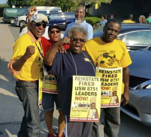 Team Solidarity members at a Boston bus driver yard rally are from left to right: Samir Stanley, Angie Louis Charles, Georgia Scott, Jean Brazile (behind Georgia), Robert Salley.WW photo: Stevan Kirschbaum