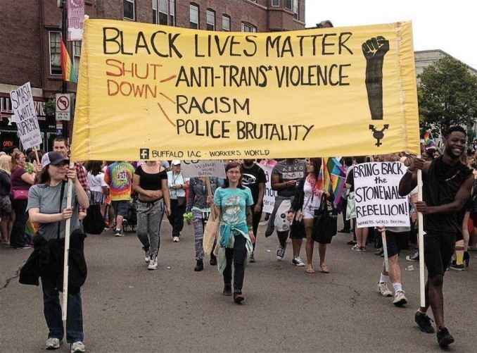 Youth in Buffalo, N.Y., support Black Lives Matter and blast violence against trans people.