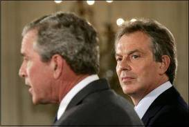 George Bush and Tony Blair, war criminals.