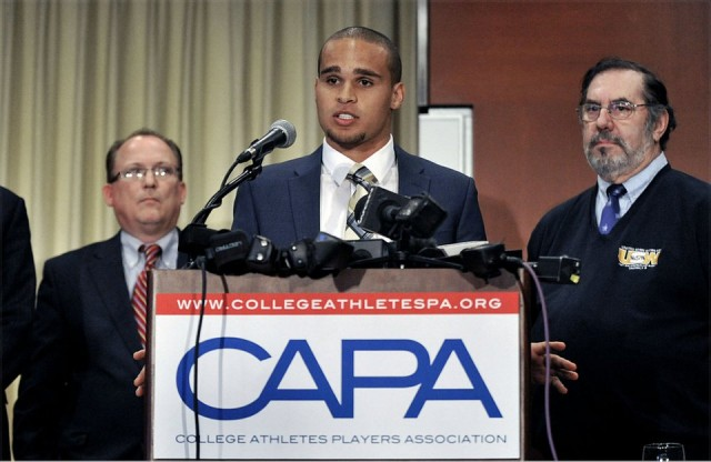 Northwestern quarterback Kain Colter announces that Northwestern football players are forming the first labor union for college athletes on January 28, 2014.