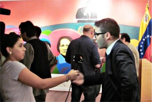 Venezuelan Ambassador-designate Maximilien Sánchez Arvelaiz being interviewed.
