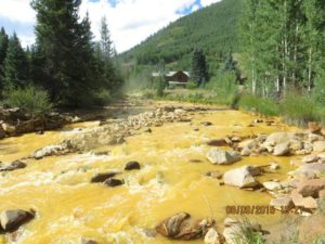 Photo of Cement Creek in Silverton, Colorado, after the Gold King Mine contaminated it.