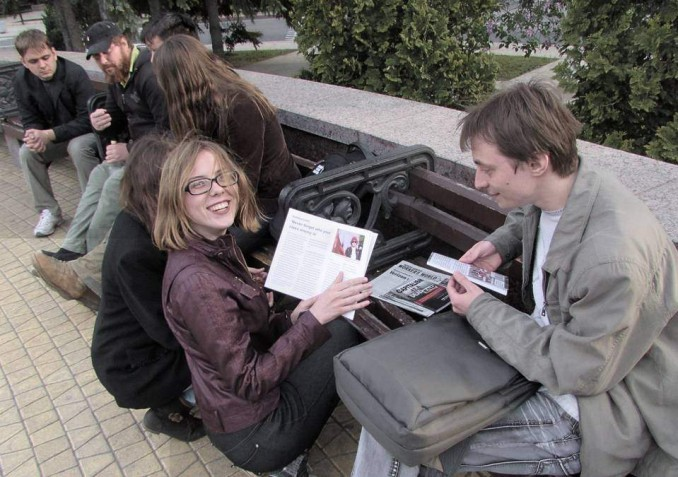 Young activists at a'weekly Marxist gathering' organized by the Communist Union of Donbass in Donetsk.
