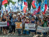 Donetsk City rally on Aug. 24 demands Ukraine President Petro Poroschenko stop the war.