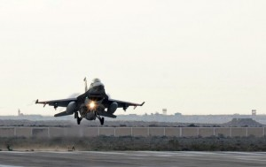 An Egyptian air force fighter jet lands after attack on Libya Feb. 16.