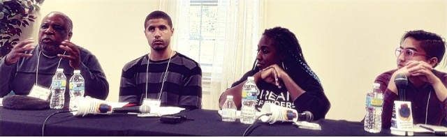 Plenary panel on state violence. Left to right: Loan Tran, Youth Organizing Institute; D'atra Jackson, Ignite NC; Adam Bledsoe, University of North Carolina at Chapel Hill; Saladin Muhammed, Black Workers For Justice.WW photo: Peter Gilbert
