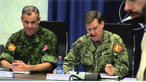 Adm. Mark Ferguson, right, Commander of Allied Joint Force Command Naples, gives remarks on Nov. 12, 2014, regarding Trident Juncture role in expanding NATO's operations.