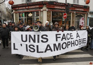 "In Paris, ""United Against Islamophobia."""