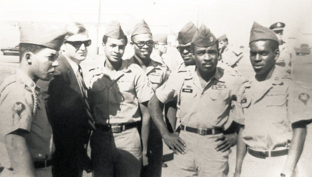 From left, Pfc. Ernest Bess, attorney Michael Kennedy, Pfc. Guy Smith, Sp/4 Albert Henry, Pvt. Ernest Frederick, Sgt. Robert Rucker, Sp/4 Tollie Royal. October 1968 at Fort Hood, Texas.Photo: American Servicement's Union