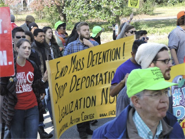 #ShutDownStewart march at immigrant detention camp in Georgia.WW photo: Jimmy Raynor