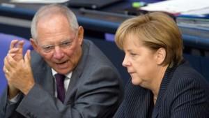 Finance Minister Wolfgang Schäubel and Chancellor Angela Merkel.