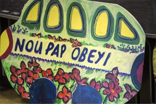 'We will not obey' -- slogan of the mass movement resisting the stealing of Haiti's elections. Photo: Malaika Kambon