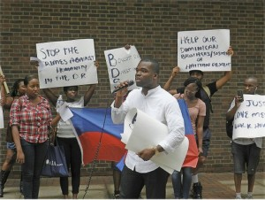 Dominican-Haitian solidarity protest in Times Square.WW photo: G. Dunkel