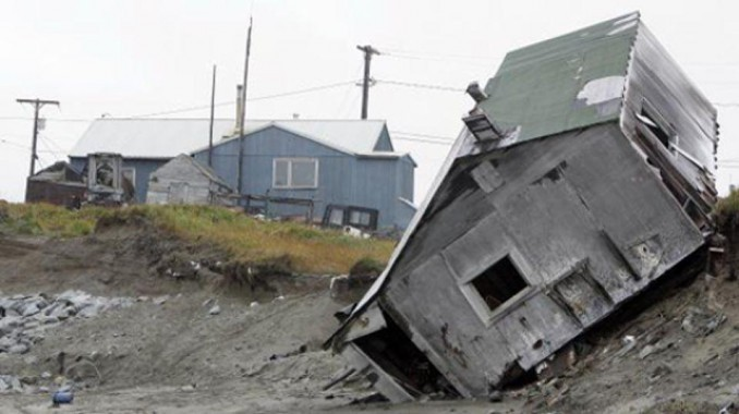 A collapsed home in Shishmaref, Alaska.