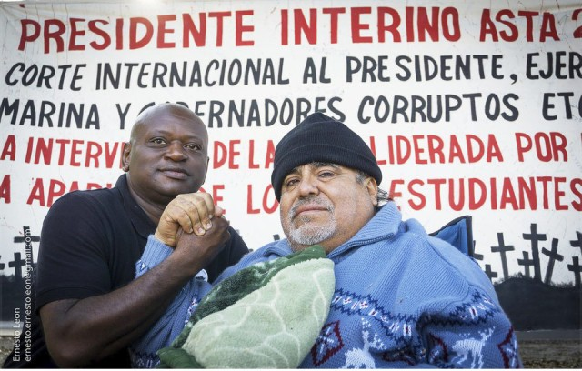 Leobardo Santillan, right, with supporter Brother Vincent.Photo: Ernesto Leon