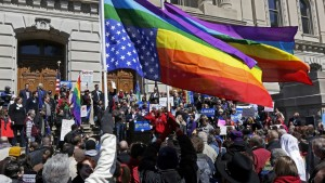 March 31 protest at Indiana state Capitol.