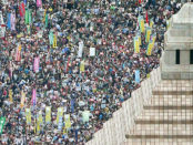 Some 45,000 protesters outside parliament in Tokyo on Sept. 14.