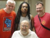 Joe Johnson with Ed Childs, Larry Hales and Bryan G. Pfeifer of Workers World Party.