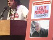 Jefferson Azevedo honoring Leslie Feinberg in Los Angeles.