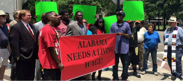 Birmingham low-wage workers rally outside St. Vincent's Hospital, June 22.