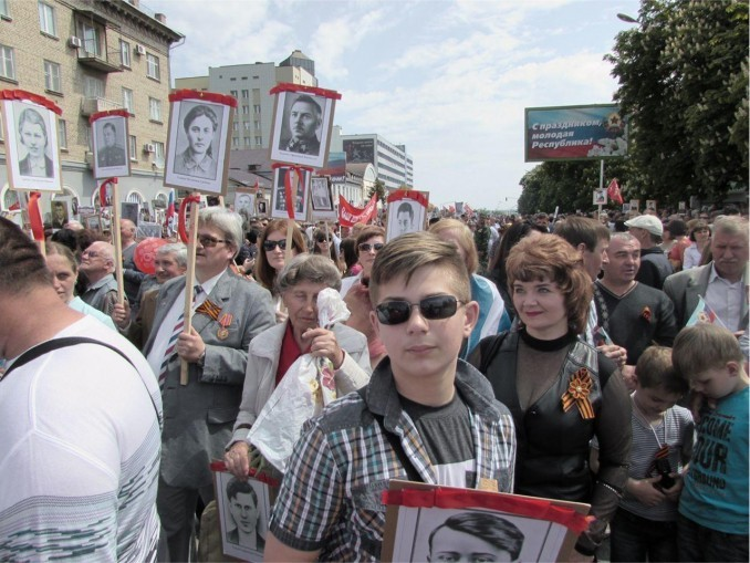 Victory Day parade in Lugansk, May 9.