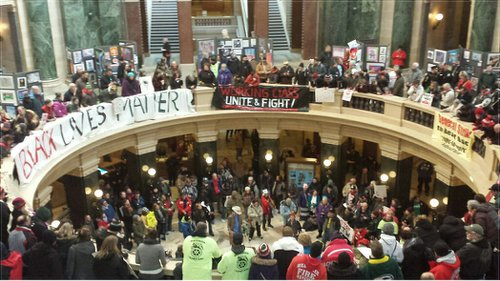 Protesters inside the Wisconsin State Capitol on Feb. 28.