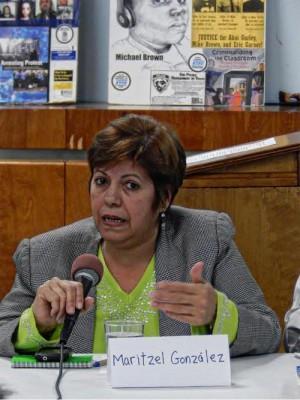 Maritzel González from Federation of Cuban Women, March 14.WW photo: Anne Pruden