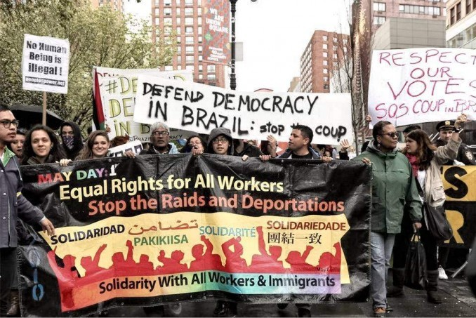 International working-class solidarity and battling racism are the main goals. May 1, New York City.